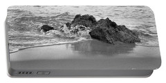 Rock And Waves In Albandeira Beach. Monochrome Portable Battery Charger by Angelo DeVal