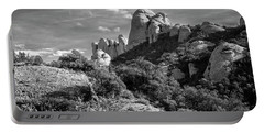 Rock Formations Montserrat Spain II Bw Portable Battery Charger