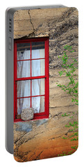 Portable Battery Charger featuring the photograph Rock On A Red Window by James Eddy