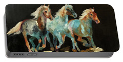 Portable Battery Charger featuring the painting Rockin' Horses by Barbie Batson
