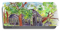 Portable Battery Charger featuring the painting Rockland Cabin by Cathie Richardson