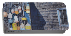 Rockport Fishing Shack With Lobster-buoys And Nets Portable Battery Charger by Barbara Barber
