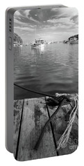 Portable Battery Charger featuring the photograph Rockport Harbor, Maine #80458-bw by John Bald