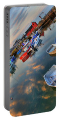 Portable Battery Charger featuring the photograph Rockport Harbor Motif #1  by Joann Vitali