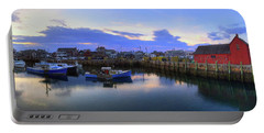 Portable Battery Charger featuring the photograph Rockport Harbor Sunset Panoramic With Motif No1 by Joann Vitali