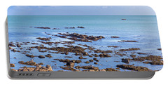 Rocks And Seaweed And Seagulls In The Irish Sea At Howth Portable Battery Charger by Semmick Photo