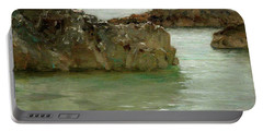 Portable Battery Charger featuring the painting Rocks At Newport by Henry Scott Tuke