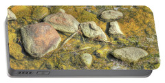 Rocks In Water Portable Battery Charger by Jim Sauchyn