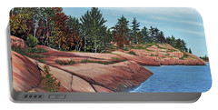 Portable Battery Charger featuring the painting Rocky River Shore by Kenneth M Kirsch