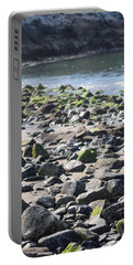 Rocky Shore Of Sand Beach Portable Battery Charger by Living Color Photography Lorraine Lynch