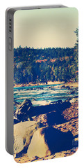 Portable Battery Charger featuring the photograph Rocky Shores Of Lake Superior by Phil Perkins