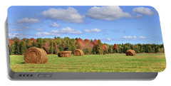 Rolls Of Hay On A Beautiful Day Portable Battery Charger