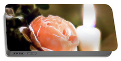 Portable Battery Charger featuring the digital art Romance In A Peach Rose by Linda Phelps