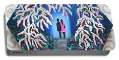 Romance Under Cherry Blossom Textured Hexagonal Painting  Portable Battery Charger