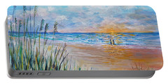 Portable Battery Charger featuring the painting Romantic Beach by Lou Ann Bagnall