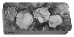 Portable Battery Charger featuring the painting Romantic Large Roses  by Robin Maria Pedrero
