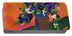 Romantic Purple Flowers In Blue Vase Portable Battery Charger