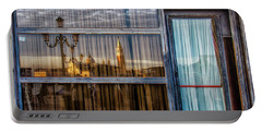 Romantic Reflections Of Venice On Old Glass Wall Framed By Iron  Portable Battery Charger