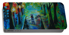 Portable Battery Charger featuring the painting Romantic Stroll by Leslie Allen