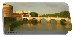 Rome The Eternal City And Tiber River Portable Battery Charger