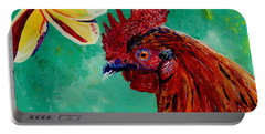 Portable Battery Charger featuring the painting Rooster And Plumeria by Marionette Taboniar
