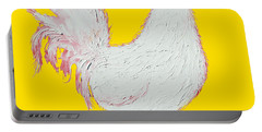 Rooster Art On Yellow Background Portable Battery Charger by Jan Matson