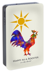 Rooster Pattern Art Portable Battery Charger by Christina Rollo