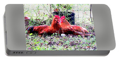 Roosters Portable Battery Charger by Charles Shoup