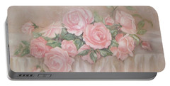Rose Abundance Painting Portable Battery Charger by Chris Hobel
