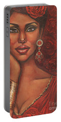 Portable Battery Charger featuring the painting Rose by Alga Washington