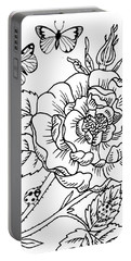 Rose And Butterflies Drawing Portable Battery Charger