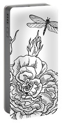 Rose And Dragonfly Drawing  Portable Battery Charger