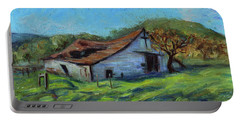 Portable Battery Charger featuring the painting Rose Barn Margan Hill California Landscape 12 by Xueling Zou