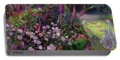 Rose Bed And Geese Portable Battery Charger by Timothy Easton