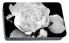 Portable Battery Charger featuring the photograph Rose Black And White by Christina Rollo