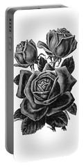 Portable Battery Charger featuring the digital art Rose Black by ReInVintaged