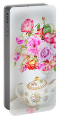 Rose Bouquet And Vintage Teapot Portable Battery Charger