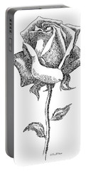 Rose Drawings Black-white 5 Portable Battery Charger