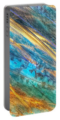 Portable Battery Charger featuring the painting Rose Gold And Teal Blue Abstract Painting by Marianna Mills