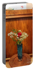 Portable Battery Charger featuring the photograph Rose In A Glass Vase Before by Marie Neder