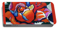 Portable Battery Charger featuring the painting Rose In Outline by Kathy Braud