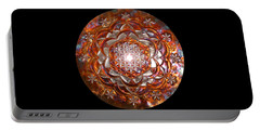 Portable Battery Charger featuring the sculpture Rose Of Life Copper Lightmandala by Robert Thalmeier