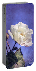 Portable Battery Charger featuring the photograph Rose Of Sharon In Blue Fog by Elaine Teague