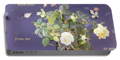 Rose On Glass Table With Loving Wishes Portable Battery Charger