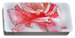 Portable Battery Charger featuring the painting Rose Pink by Jasna Dragun