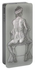 Rose Seated From The Back Portable Battery Charger by Donelli  DiMaria