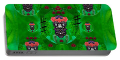 Rose Sugar Skull In Fern Garden Portable Battery Charger