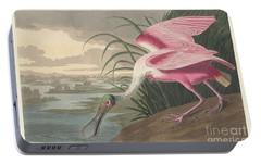 Roseate Spoonbill, 1836  Portable Battery Charger by John James Audubon