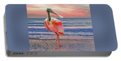 Portable Battery Charger featuring the photograph Roseate Spoonbill At Sundown  by Brian Tarr
