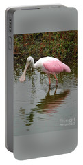 Roseate Spoonbill In Pond Portable Battery Charger